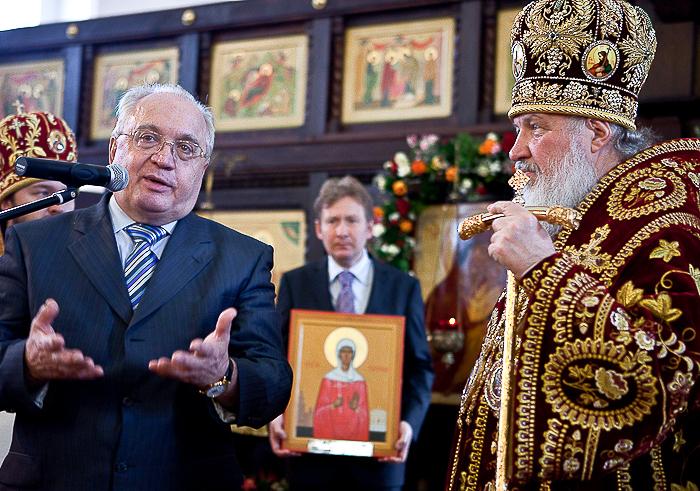 Храм и Университет подарили Патриарху памятную икону святой Татианы