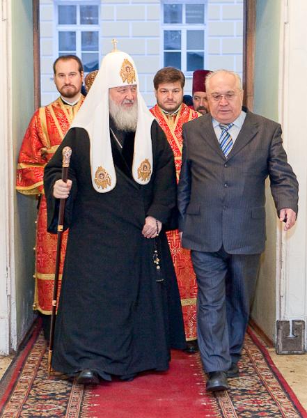 Святейший Патриарх Кирилл и ректор МГУ Виктор Антонович Садовничий