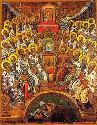 Первый Вселенский собор. Икона. XVI в.