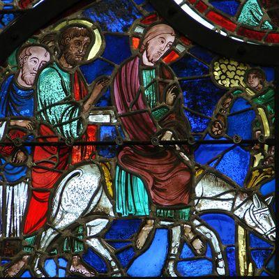 Вход Господень в Иерусалим. Витраж собора в городе Лан во Франции (ок. 1215 г.)