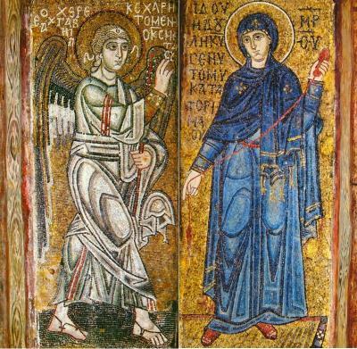 Софийский собор. Ок.1037г. Киев. Совмещенные фрагменты алтарных столбов