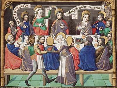 Грешница, возливающая миро на голову Иисуса. Иллюстрация к «Граду Божия» Августина. Франция, конец XV в.