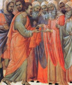 Дуччо ди Буонисенья. Предательство Иуды (фрагмент алтарного образа «Маэста», 1308-11 гг.)