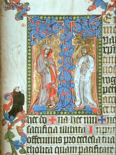 Богородица и Христос – «Муж Скорбей» у процветшего креста. Миниатюра из миссала. Австрия, конец XIV в.
