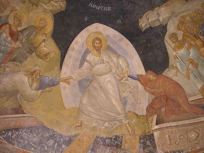 Воскресение. Фрагмент фрески монастыря Хора в Константинополе. XIV в.