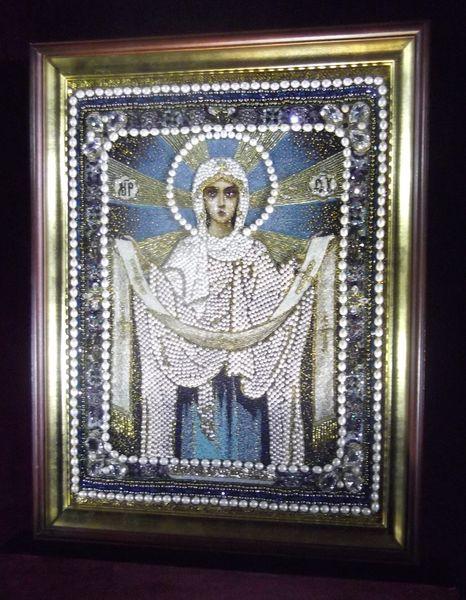Выставка вышитых икон в Храме Христа Спасителя.  Ольга Богданова.