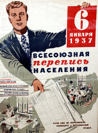 плакат 1937 года о переписи населения