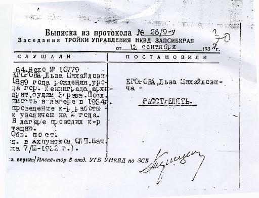 Приговор к расстрелу архимандрита Льва (Егорова), руководителя Александро-Невского братства в 1920-е годы