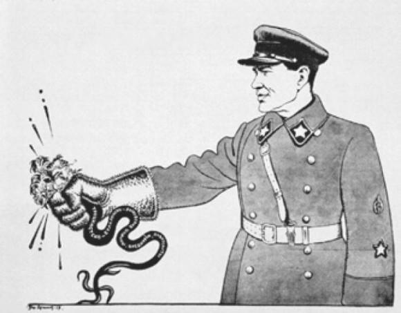Плакат. Н. Ежов уничтожает антисоветскую гидру