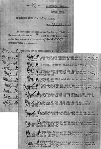 Списки приговоренных с пометами о приведении приговора в исполнеие