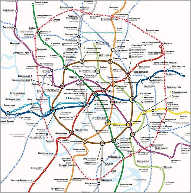 Схема МКЖД и метрополитена