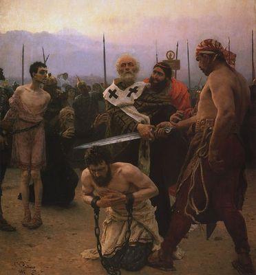 Репин. Николай Мирликийский избавляет от смерти трех невинно осужденных. 1888